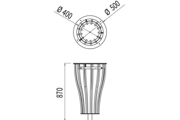 La corbeille Vigipirate vase TUB mesure 870 mm de hauteur et a un diamètre de 500 mm.