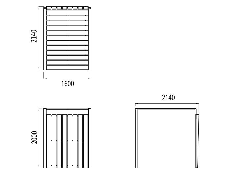 La galerie couverte NUT mesure 2 140 mm de longueur, 1 600 mm de largeur et 2 000 mm de hauteur.
