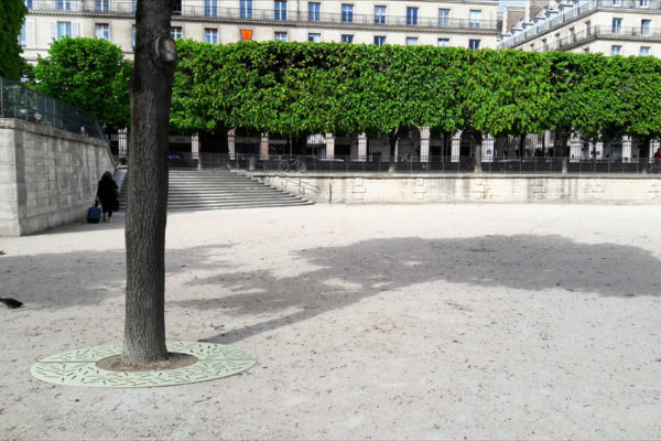 Une grille d'arbre LUD verte incrustée autour d'un arbre