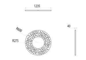 La grille d'arbre LUD mesure 1 235 mm de largeur et 40 mm d'épaisseur