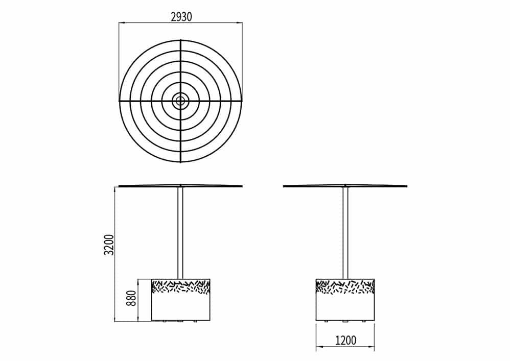 La jardinière abri-treillage LUD mesure 1 200 mm de largeur et 880 mm de hauteur. L'ombrelle mesure 3 200 mm de hauteur et 2 930 mm de largeur.