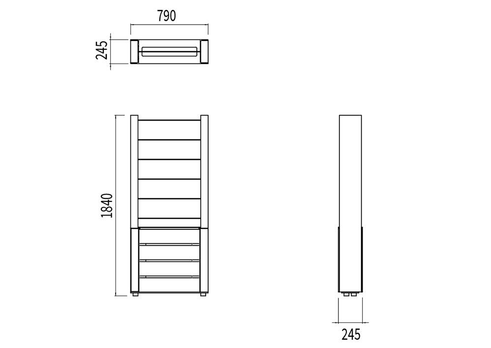 La jardinière treillage NUT mesure 790 mm de longueur, 245 mm de largeur et 1 840 mm de hauteur.