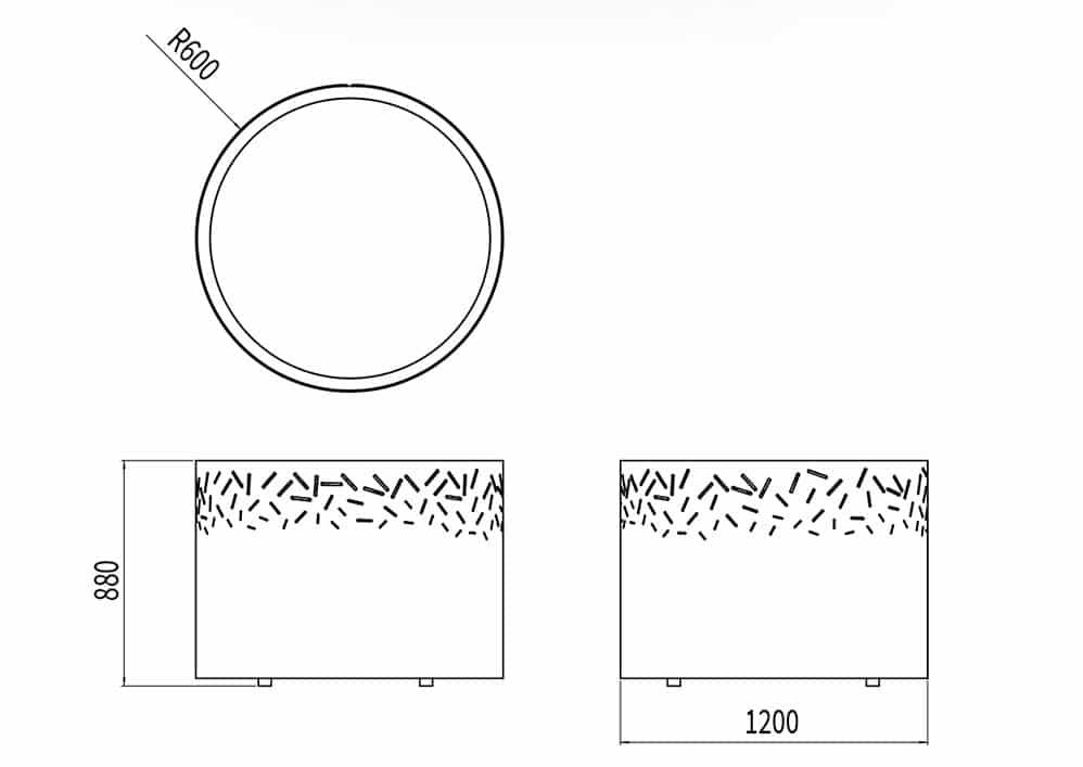 La jardinière XL LUD mesure 1 200 mm de diamètre et 880 de hauteur.