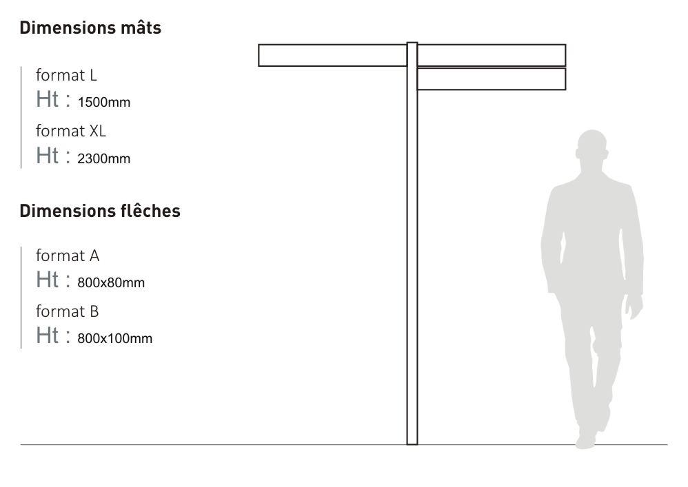 Le mât directionnel Icare est proposée en deux tailles : format L (hauteur 1 500 millimètres) et format XL (hauteur 2 300 millimètres). Les flèches sont disponibles en deux tailles : format A (longueur 800 millimètres, hauteur 80 millimètres) et format B (longueur 800 millimètres, hauteur 100 millimètres)