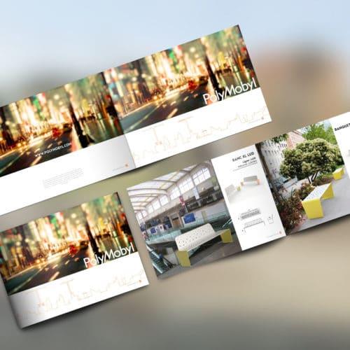 Plusieurs pages du catalogue : les première et quatrième de couverture, et la double page du banc XL et de la banquette LUD