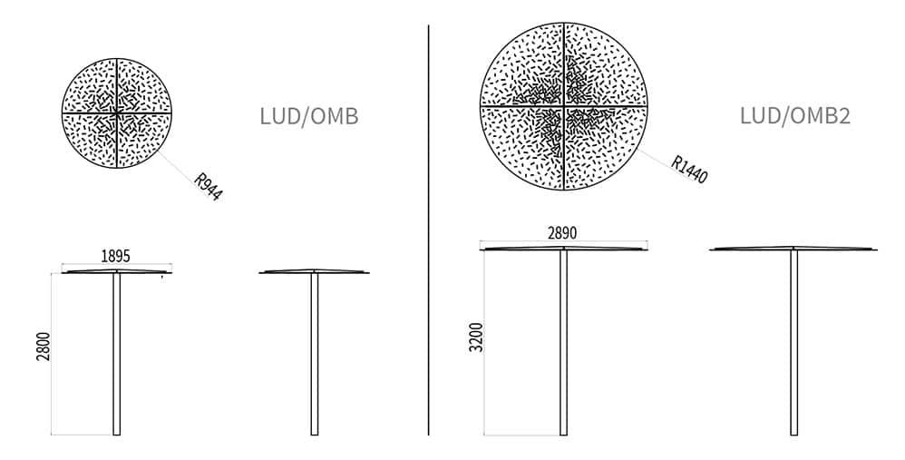 L'ombrelle LUD mesure 2 800 mm de hauteur et 1 895 mm de largeur ; le plateau mesure 944 mm de rayon. L'ombrelle XL LUD mesure 3 200 mm de hauteur et 2 890 mm de largeur ; le plateau mesure 1 440 mm de rayon.