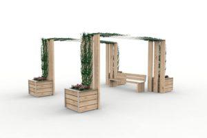 Deux pergolas NUT avec des jardinières NUT et des plantes grimpantes ; entre les pergolas, un banc XL NUT