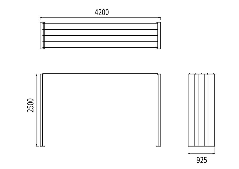 La pergola NUT mesure 4 200 mm de longueur, 925 mm de largeur et 2 500 mm de hauteur