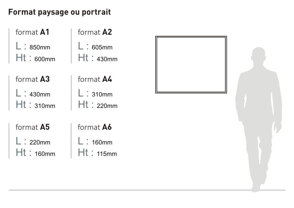 La plaque murale Massilia est proposée en six tailles : format A1 (longueur 850 millimètres, hauteur 600 millimètres), format A2 (longueur 605 millimètres, hauteur 430 millimètres), format A3 (longueur 430 millimètres, hauteur 310 millimètres), format A4 (longueur 310 millimètres, hauteur 220 millimètres), format A5 (longueur 220 millimètres, hauteur 160 millimètres) et format A6 (longueur 160 millimètres, hauteur 115 millimètres)