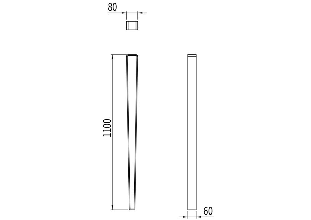 Le potelet LUD mesure 1 100 mm de hauteur et de 60 à 80 mm en largeur.