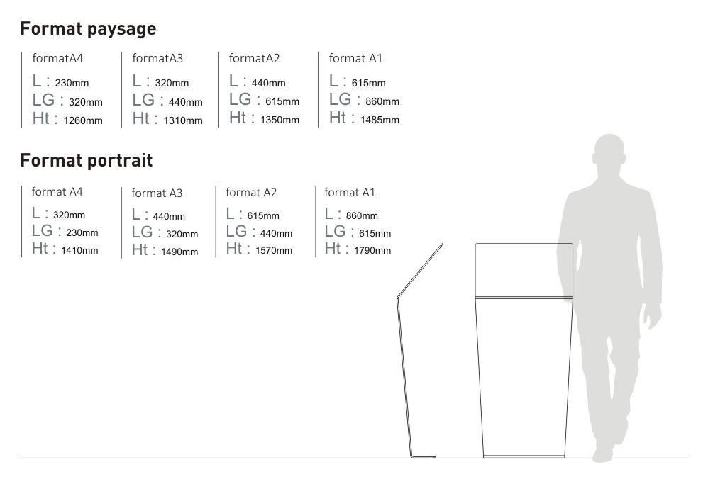Le pupitre et table de lecture Icare est disponible en deux formats : format paysage (avec quatre sous-formats : A4 à A1) et format portrait (dont quatre sous-formats : A4 à A1)