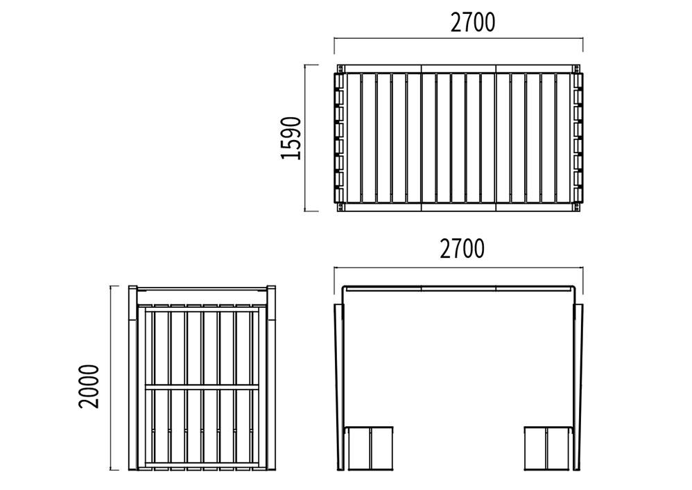 La table abritée NUT mesure 2 700 mm de longueur, 1 590 mm de largeur et 2 000 mm de hauteur.