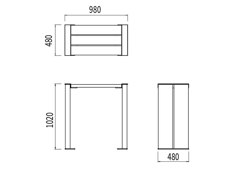 La table bar NUT mesure 980 mm de largeur, 480 mm de largeur et 1 020 mm de hauteur.