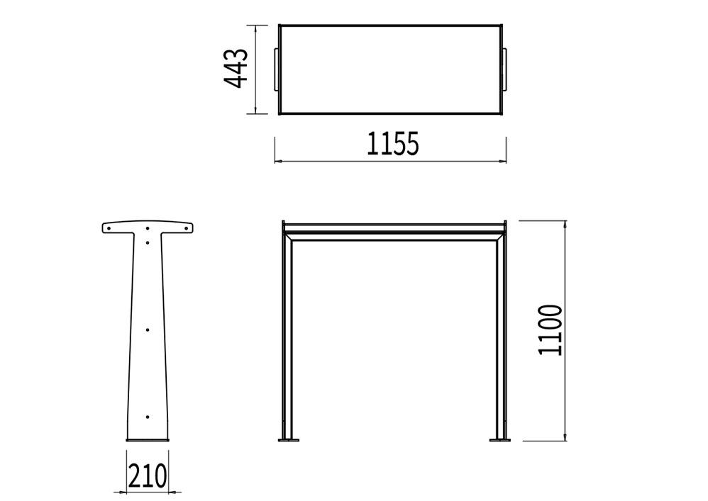 La table bar TUB mesure 1 155 mm de longueur, 443 mm de largeur et 1 100 mm de hauteur.