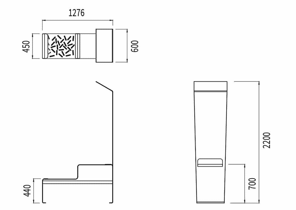 La table connectée LUD mesure 1 276 mm de longueur, 600 mm de largeur et 2 200 mm de hauteur. L'assise mesure 450 mm de largeur et 440 mm de hauteur.