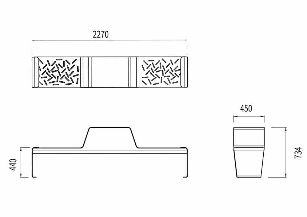 La table gigogne duo LUD mesure 2 270 mm de longueur, 450 mm de largeur et 734 mm de hauteur. L'assise mesure 440 mm de hauteur.