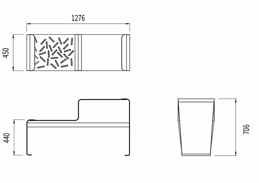 La table gigogne LUD mesure 1 276 mm de longueur, 450 mm de largeur et 706 mm de hauteur. L'assise mesure 440 mm de hauteur.