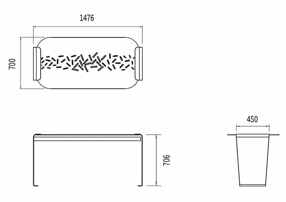 La table LUD mesure 1 476 mm de longueur, 700 mm de largeur et 706 de hauteur.