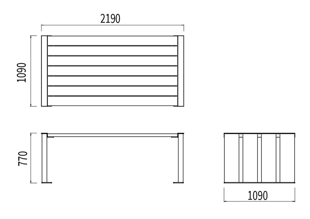 La table NUT mesure 2 190 mm de longueur, 1 090 mm de largeur et 770 mm de hauteur.