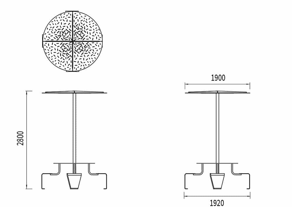 La largeur de la table pique-nique abritée LUD est de 1 920 mm et sa hauteur de 2 800 mm. L'ombrelle mesure 1 900 mm de diamètre.