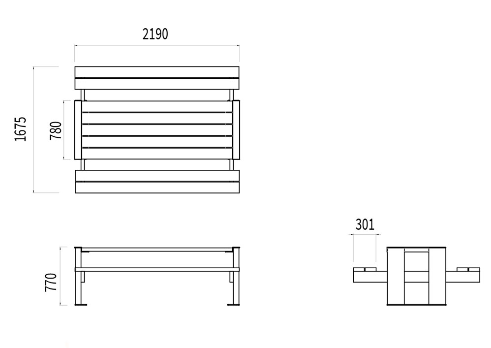 La table pique-nique NUT mesure 2 190 mm de longueur, 1 675 mm de largeur et 770 mm de hauteur