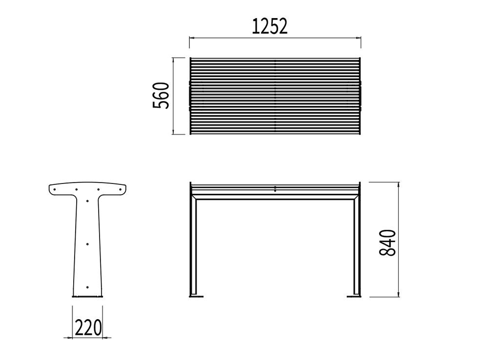 La table TUB mesure 1 252 mm de longueur, 560 mm de largeur et 840 mm de hauteur.