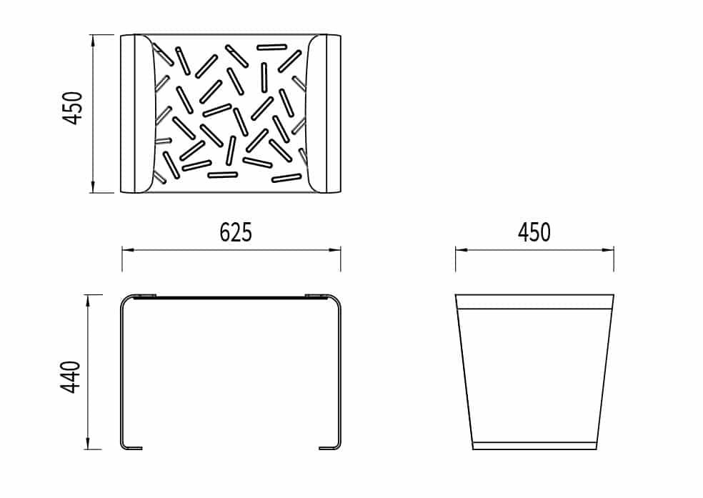 Le tabouret LUD mesure 625 mm de longueur, 450 mm de largeur et 440 mm de hauteur.