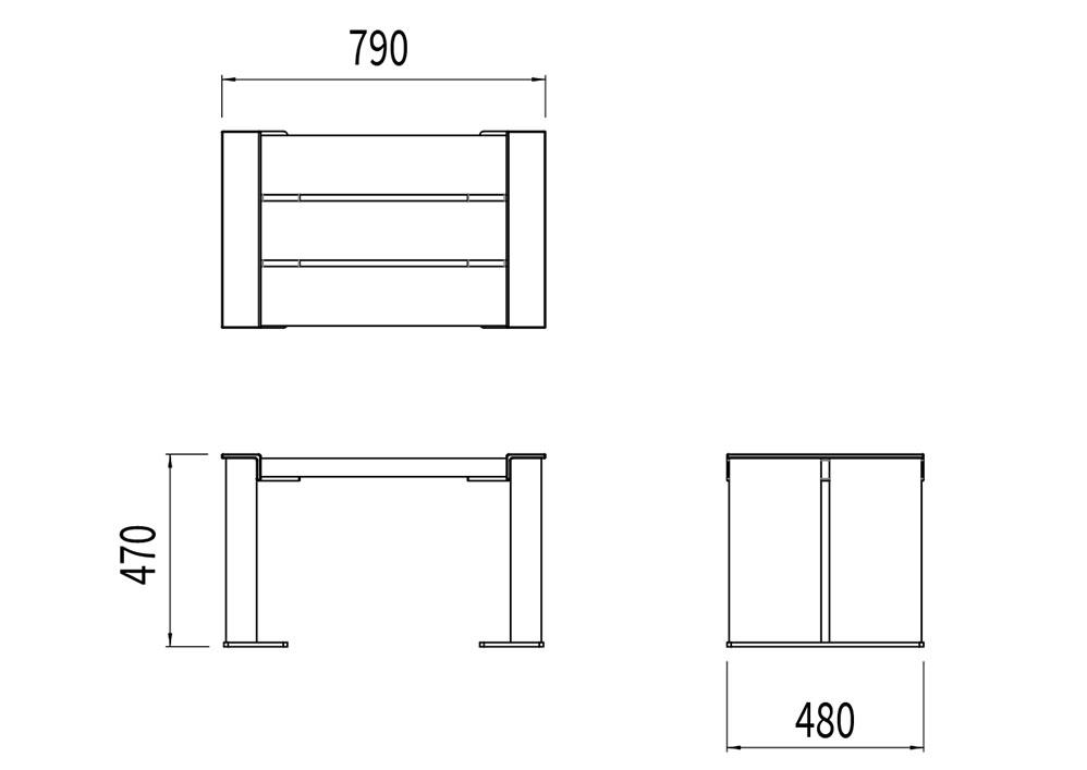 Le tabouret NUT mesure 790 mm de longueur, 480 mm de largeur et 470 mm de hauteur.