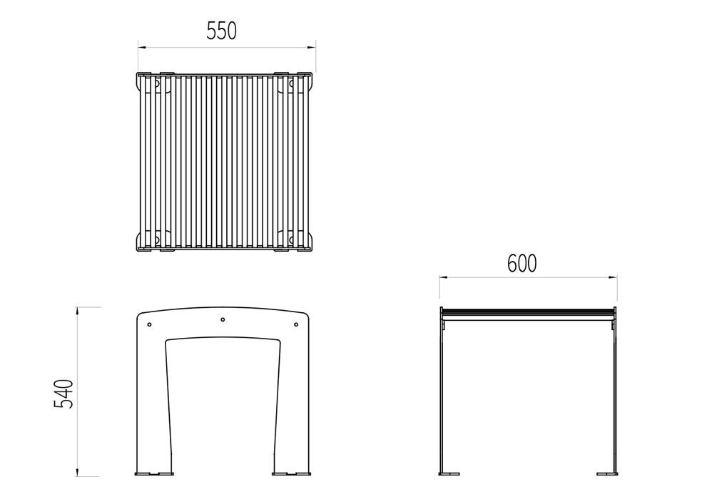 Le tabouret TUB mesure 600 mm de longueur, 550 mm de largeur et 540 mm de hauteur.