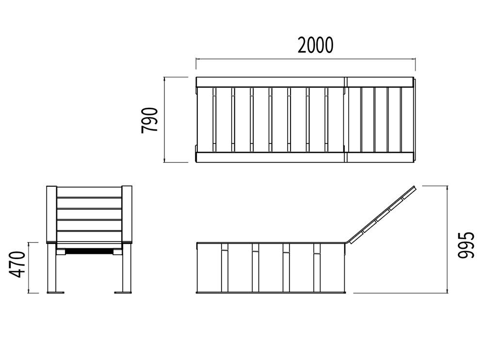 Le transat NUT mesure 2 000 mm de longueur, 790 mm de largeur et 470 à 995 mm de hauteur (assise et dossier).