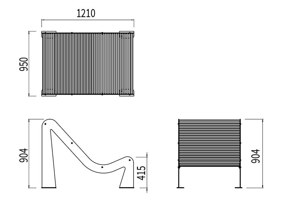 Le transat TUB mesure 1 210 mm de longueur, 950 mm de largeur et 415 à 904 mm de hauteur (assise et dossier).