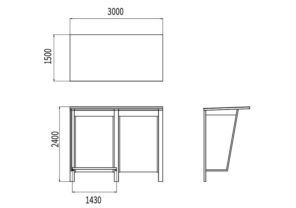 L'abribus PUR mesure 3 000 mm de longueur, 1 500 mm de largeur et 2 400 mm de hauteur