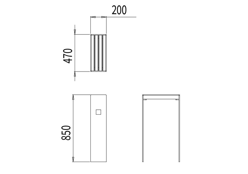 L'assis-debout CUB mesure 470 mm de longueur, 200 mm de largeur et 850 mm de hauteur