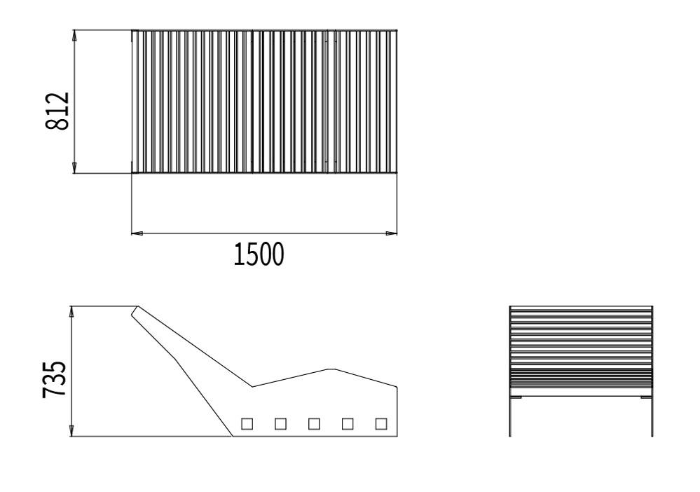 Le bain de soleil CUB mesure 1 500 mm de longueur, 812 mm de largeur et 735 mm de hauteur