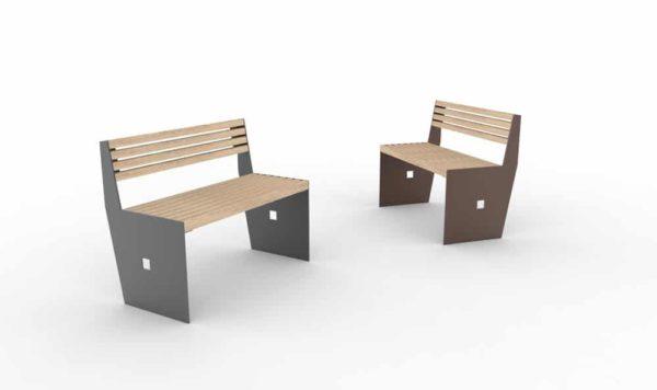 Deux bancs CUB : un gris à gauche et un marron à droite