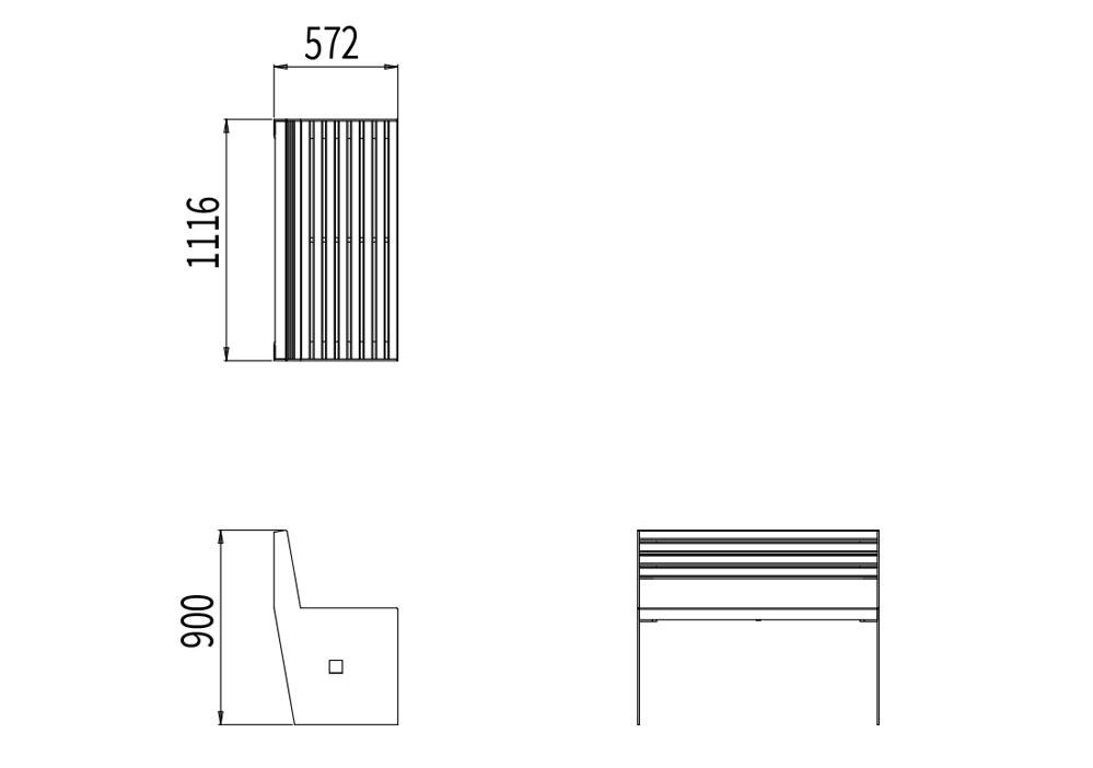Le banc CUB mesure 1 116 mm de longueur, 572 mm de largeur et 900 mm de hauteur