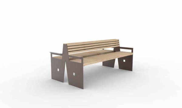 Un banc double CUB de couleur marron