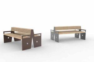 Deux bancs doubles CUB : un marron à gauche et un gris à droite