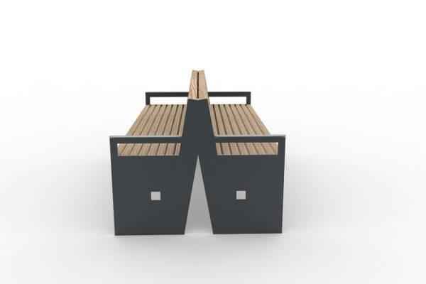Un banc double CUB gris vu de côté