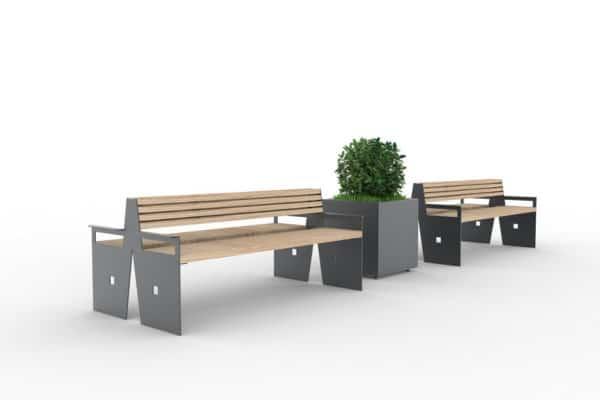 Deux bancs doubles CUB gris avec, au milieu, une jardinière XL CUB grise