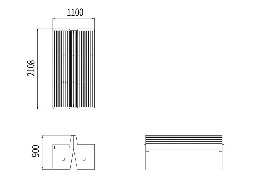 Le banc double CUB mesure 2 108 mm de longueur, 1 100 mm de largeur et 900 mm de hauteur