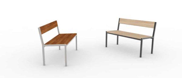 Deux bancs PUR qui se font face : l'un est un modèle haut-de-gamme (à gauche), l'autre classique (à droite)