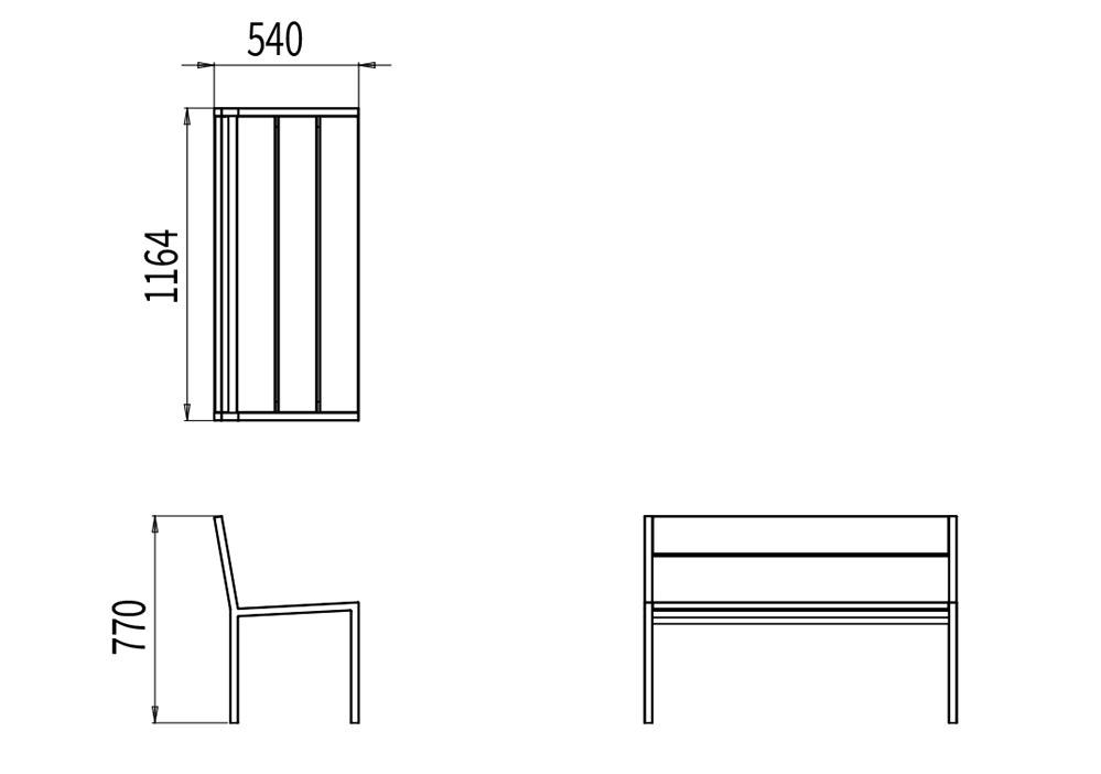 Le banc PUR mesure 1 164 mm de longueur, 540 mm de largeur et 770 mm de hauteur