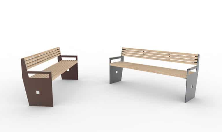 Deux bancs XL CUB : un marron à gauche, un gris à droite