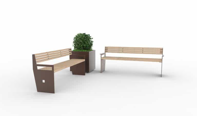 Deux bancs XL CUB avec à l'angle une jardinière XL CUB marron