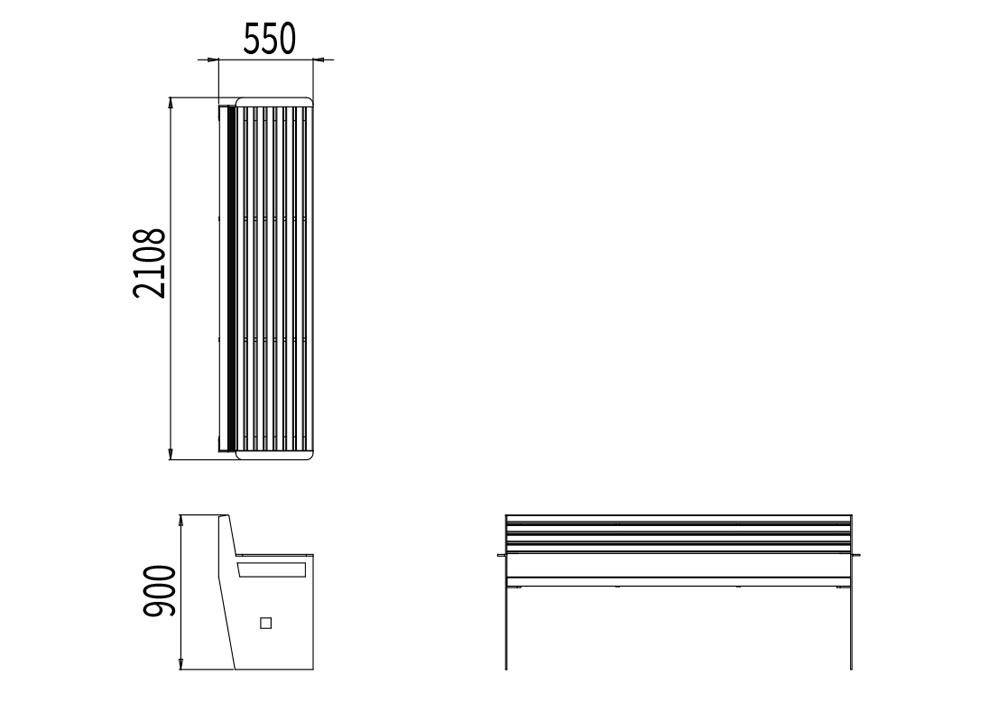 Le banc XL CUB mesure 2 108 mm de longueur, 550 mm de largeur et 900 mm de hauteur