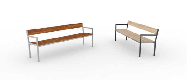 Deux bancs XL PUR : un haut-de-gamme à gauche et un classique à droite