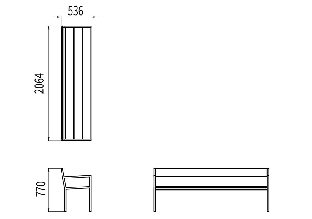 Le banc XL PUR mesure 2 064 mm de longueur, 536 mm de largeur et 770 mm de hauteur