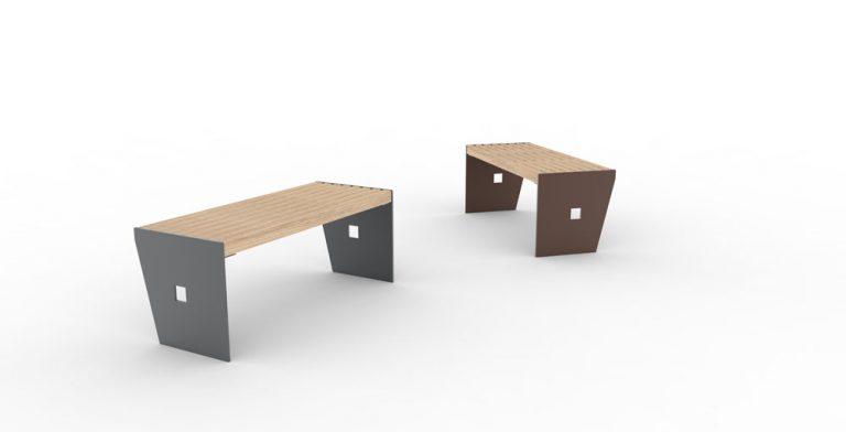 Deux banquettes CUB : à gauche, une banquette à la structure en acier grise ; à droite, une à la structure en acier marron