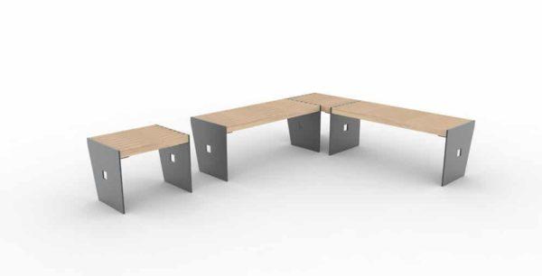 Un tabouret CUB à gauche ; à droite, deux banquettes CUB qui forment un angle grâce à un autre tabouret CUB